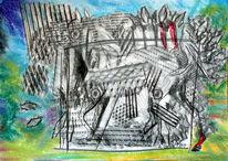 Pferde, Galopp, Frottage, Zeichnungen