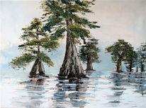 Spachtel, Baum, Sumpf, Spiegelung