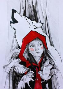 Märchen, Portrait, Menschen, Bleistiftzeichnung