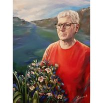 Frau, Portrait, Blumen, Malerei