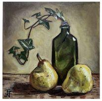 Flasche, Ölmalerei, Efeu, Zweig