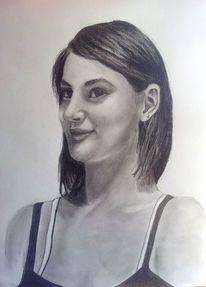 Pastelle, Frau, Portrait, Bleistiftzeichnung