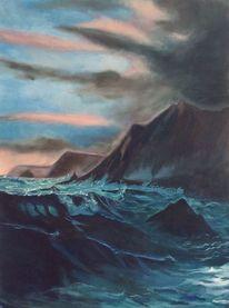Dämmerung, Ölmalerei, Himmel, Meer