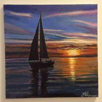 Abend, Sonne, Boot, Wasser