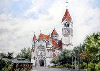 Aquarellmalerei, Realismus, Kirche, Wien