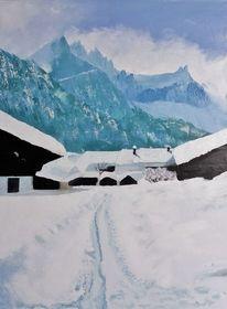 Schnee, Ölmalerei, Kalt, Spachteltechnik