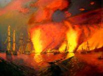 Schlacht, Ölmalerei, Aiwasowski, Drama