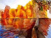 Wasser, Landschaft, Herbst, See