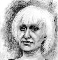 Zeichnung, Kollegin, Bleistiftzeichnung, Frau