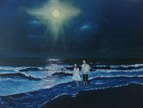 Ölmalerei, Dämmerung, Spaziergänger am strand, Mondschein