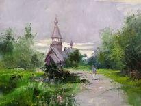 Sommer, Dorf, Kirche, Russland