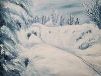 Schnee, Ski, Piste, Landschaftsmalerei