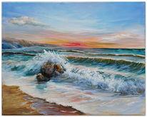 Meer, Felsen, Abend, Wasser