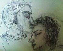 Paar, Kuss, Gefühl, Stirn