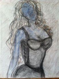 Verzerren, Zerreißen, Frau, Blau