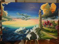 Meer, Acrylmalerei, Landschaft, Malerei