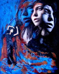 Mischtechniken, Frau, Grazyna federico, Acrylmalerei