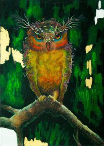Die eule, Wald, Blick, Acrylmalerei