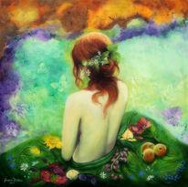 Frau, Früchte, Jahreszeiten, Bunt