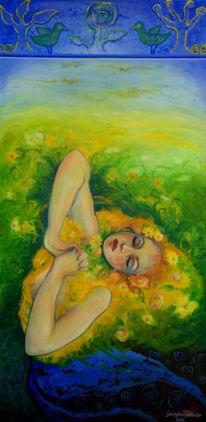 Acrylmalerei, Gestaltung, Erwachen, Natur