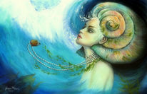 Frau, Natur, Acrylmalerei, Symbol