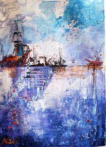 Segel, Segelboot, Weg, Blau