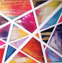 Pink, Streifen, Dreieck, Abstrakt
