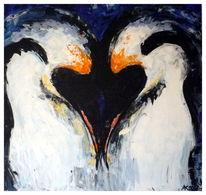 Abstrakt, Groß, Liebe, Pinguin