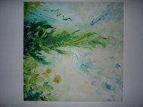 Grün, Wiese, Blumen, Malerei