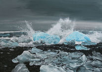 Eis, Island, Sturm, Wasser