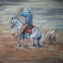 Reiter, Kalb, Pferde, Sand