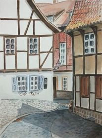 Harz, Fachwerk, Quedlinburg, Aquarell