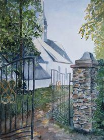 Tor, Kirche, Ringethal, Aquarell
