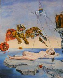 Surreal, Malerei, Granatapfel, Biene