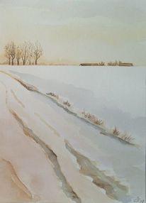 Winter, Schnee, Feld, Baum
