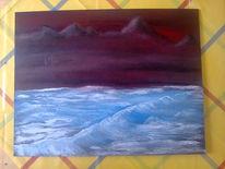 Sonnenuntergang, Meer, Welle, Berge