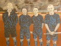 Acrylmalerei, Mannschaft, Baseball, England