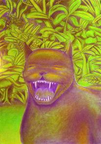 Grün, Zähne, Pastellmalerei, Tiere