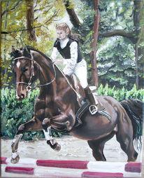 Wald, Pferde, Sprung, Malerei