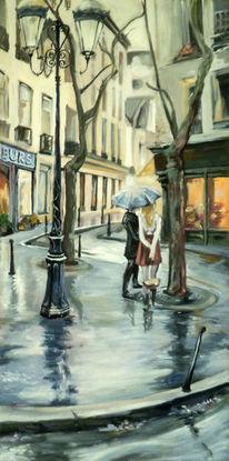 Regen, Straße, Architektur, Menschen