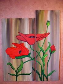 Acrylmalerei, Mohn, Blüte, Malerei