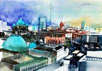 Dom, Brd, Aquarellmalerei, Stadtlandschaft