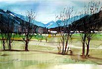 Salzburger land, Landschaft, Aquarellmalerei, Pinzgau