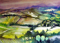 Landschaftsaquarell, Oberitalien, Felder, Italien