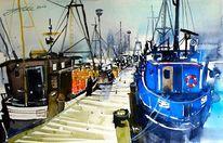 Fischkutter, Insel, Nordsee, Aquarellmalerei