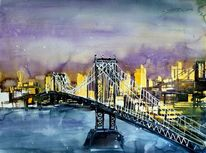 Aquarellmalerei, Stadtlandschaft, New york, Manhattan