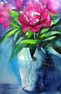 Aquarellmalerei, Rote blüten, Blumen, Glasvase