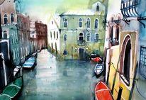 Aquarellmalerei, Boot, Venedig, Canale