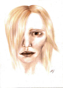Portrait, Buntstiftzeichnung, Frau, Mädchen