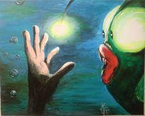 Laternenfisch hand licht, Malerei, Begegnung